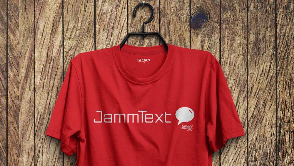 red jammtext t-shirt